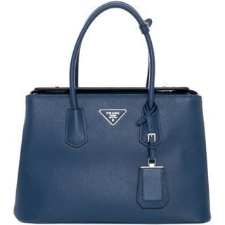 Prada Saffiano Navy Leather Tote