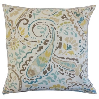 Robbia 18-inch Feather and Down Filled Floral Pool Decorative Pillow