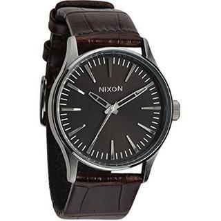 Men's Nixon A3771887-00 Quartz Black Dial Brown Leather Watch
