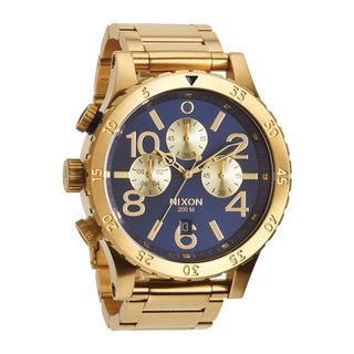 Men's Nixon A4861922-00 Chronograph Blue Dial Stainless Steel Goldtone Quartz Watch