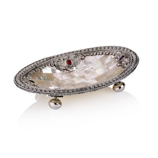 6-inch Neda Behnam Home Decor Sterling Silver Mother of Pearl Oval Dish with Stearling Silver and Garnett Accents