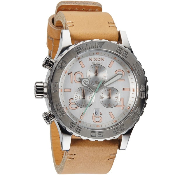 Nixon Men's A4241603-00 Chronograph Quartz Brown Leather Strap Watch