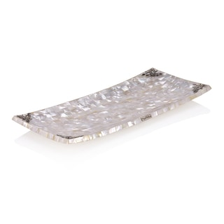 15-inch Neda Behnam Home Decor Sterling Silver Mother of Pearl Tray