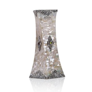 Sterling Silver Mother Of Pearl Decorative Spiral Square Vase
