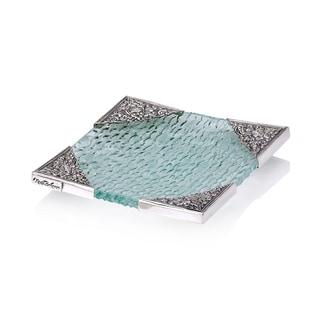 Neda Behnam Home Decor Sterling Silver Handmade Spun Glass Square Dish