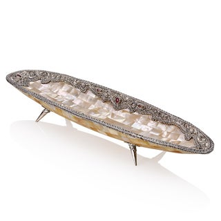 Neda Behnam Home Decor Sterling Silver Genuine Gemstone and Mother of Pearl Round Bowl