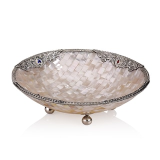 Neda Behnam Home Decor Sterling Silver Mother of Pearl and Genuine Gemstone Round Bowl