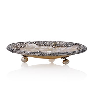 Neda Behnam Home Decor Sterling Silver Gemstone and Mother of Pearl Round Bowl