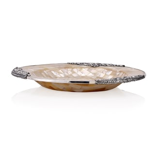 Neda Behnam Home Decor Sterling Silver Mother of Pearl Round Dish