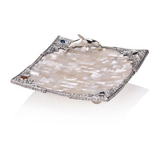 6-inch Neda Behnam Home Decor Sterling Silver Mother of Pearl and Genuine Gemstone Tray
