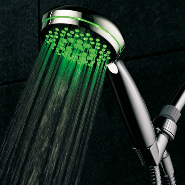 HotelSpa Ultra-Luxury 7-setting LED Hand Shower with Chrome Face and Color-Changing Temperature Sensor 14197038