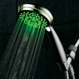 HotelSpa Ultra-Luxury 7-setting LED Hand Shower with Chrome Face and Color-Changing Temperature Sensor