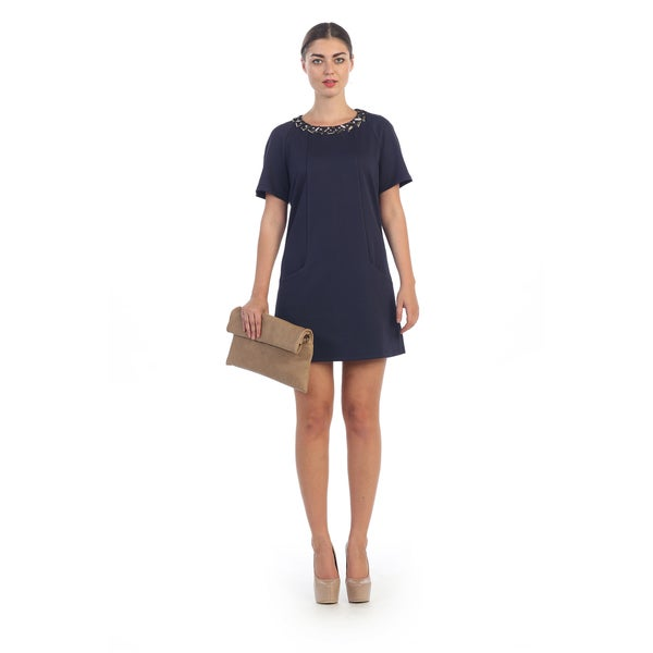 Hadari Women's Navy Shift Dress