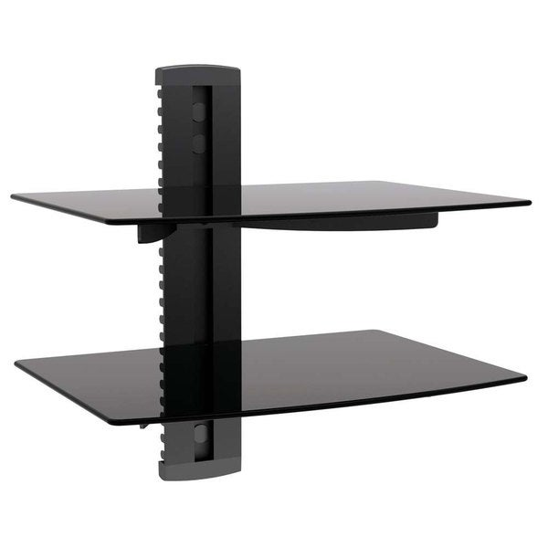 Arrowmounts Aluminum/ Tempered Glass Black Double Deck DVD Mount