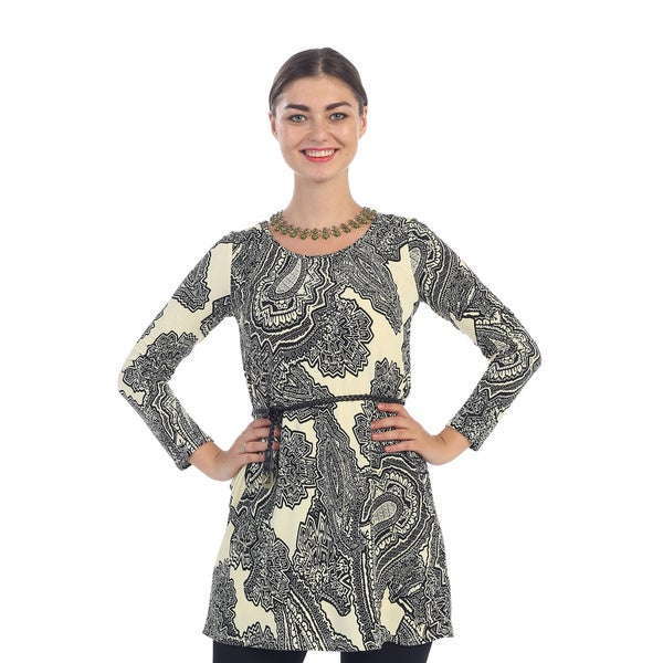 Hadari Women's Paisley Belted Dress
