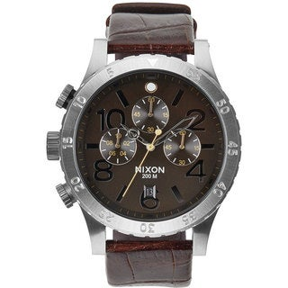 Nixon Men's A3631887-00 Brown Leather Chronograph Watch