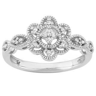 Sterling Silver 1/10ct TDW Antique-style Fashion Ring (I-J, I2-I3)