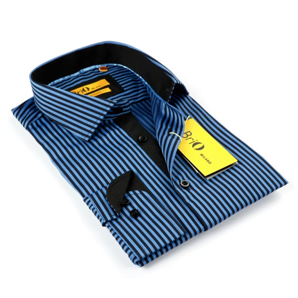BriO Milano Men's Blue/ Black Striped Fashion Shirt 14197514