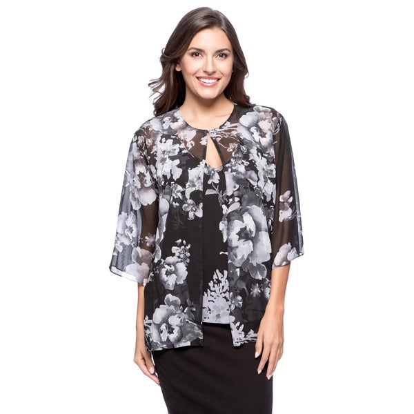 Alex Evenings Women's Printed Chiffon Twinset Top