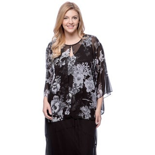 Alex Evenings Plus Size Chiffon Floral Printed Twinset