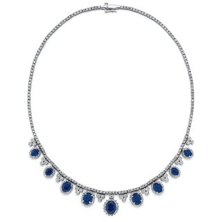 14k White Gold 6 1/2ct TDW White Diamond Sapphire Necklace (G-H, SI1-SI2)