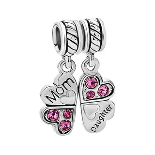 Queenberry Sterling Silver Cubic Zirconia 'Mother Daughter Love' Heart European Bead Charm