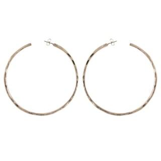 Silverplated Hammered Hoop Earrings
