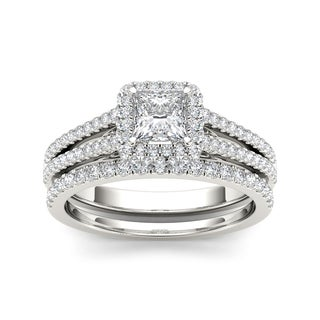 De Couer 14k White Gold 1ct TDW Diamond Princess-cut Engagement Ring (H-I, I2)