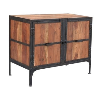 Hyderabad Reclaimed Wood and Metal 2-door Cabinet (India)