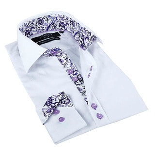 Coogi Luxe Men's White/ Paisley Trim Button Down Dress Shirt