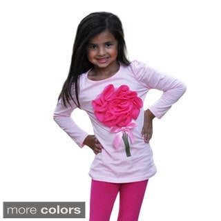 Girl's Long Sleeve Rosette Shirt