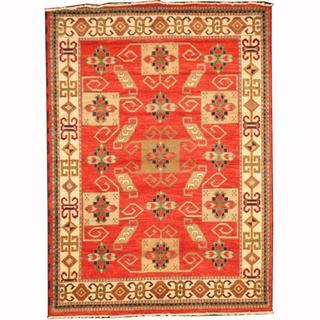 Herat Oriental Indo Hand-knotted Kazak Rust/ Green Wool Rug (5'8 x 7'10)