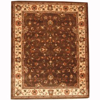 Herat Oriental Persian Indo Hand-tufted Tabriz Brown/ Ivory (8' x 10')
