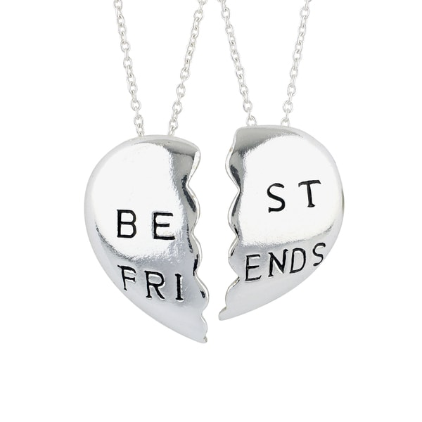 Sunstone Sterling Silver 'Best Friends' Break Apart Hearts Necklaces