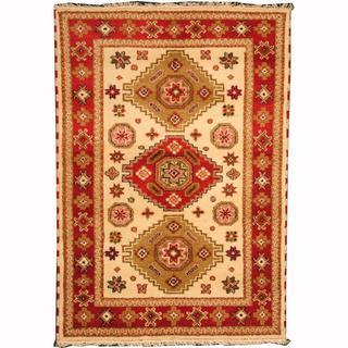 Herat Oriental Indo Hand-knotted Kazak Ivory/ Red Wool Rug (4'2 x 5'11)