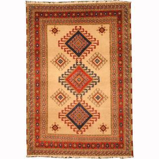 Herat Oriental Indo Hand-knotted Kazak Ivory/ Navy Wool Rug (4'2 x 5'11)