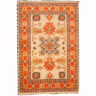 Herat Oriental Indo Hand-knotted Kazak Ivory/ Red Wool Rug (5'8 x 8'4)