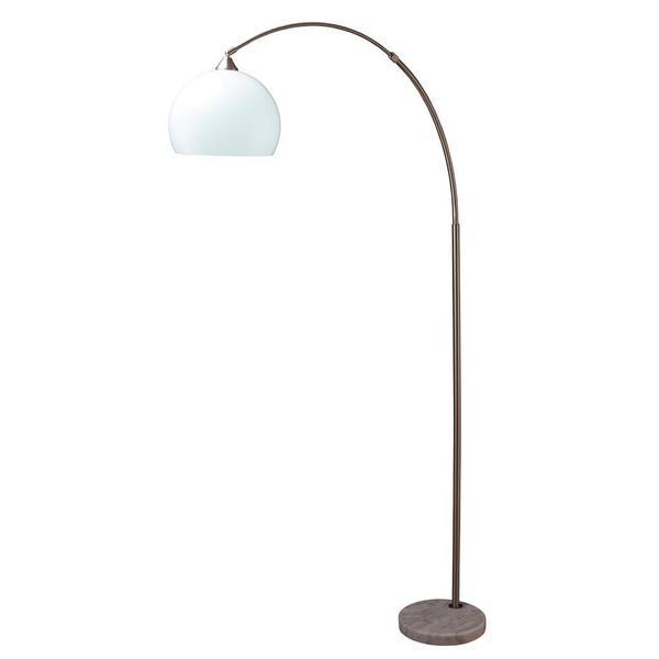 modern silver arc floor lamp on white marble base. Black Bedroom Furniture Sets. Home Design Ideas