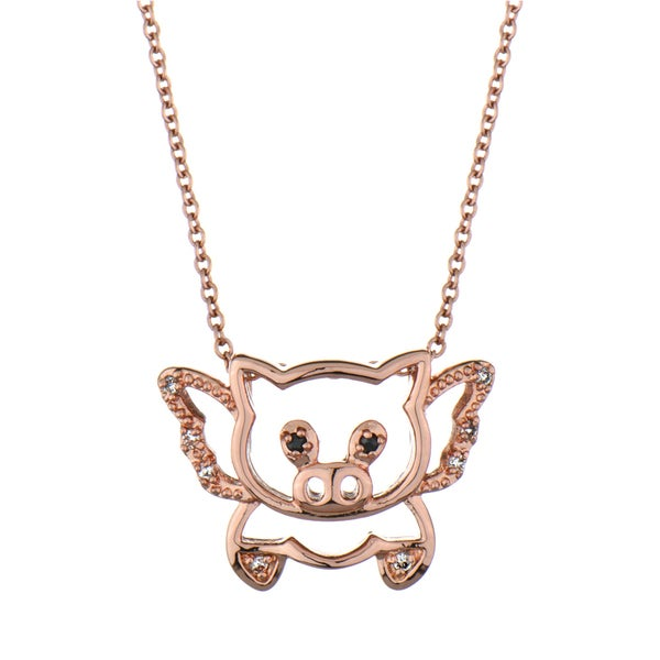 Rose Gold Flying Pig Necklace