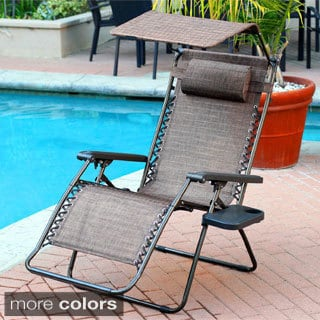 Oversized Brown Zero Gravity Chair with Sunshade and Drink Tray