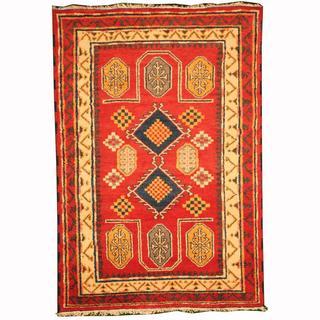 Herat Oriental Indo Hand-knotted Kazak Red/ Ivory Wool Rug (4'1 x 6')