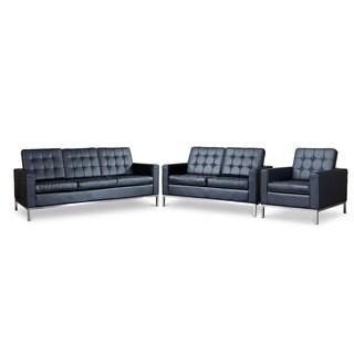 Baxton Studio Connoisseur Black Upholstered Modern 3PC Sofa Set