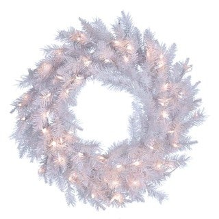 Kurt Adler 30-inch Pre-lit Crystal White Wreath