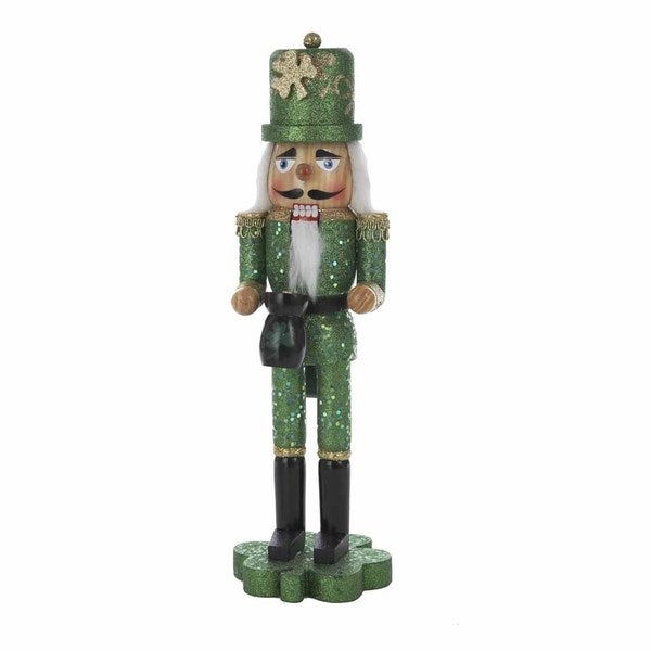 Kurt Adler 15-inch Wooden Irish Nutcracker on Shamrock Base