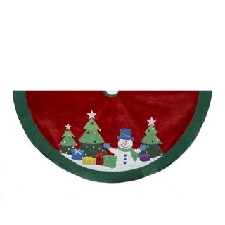 Kurt Adler 48-inch Snowman and Trees Applique and Embroidered Treeskirt