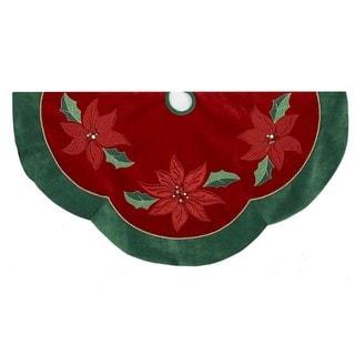 Kurt Adler 48-inch Red/Green Poinsettia Scalloped Treeskirt