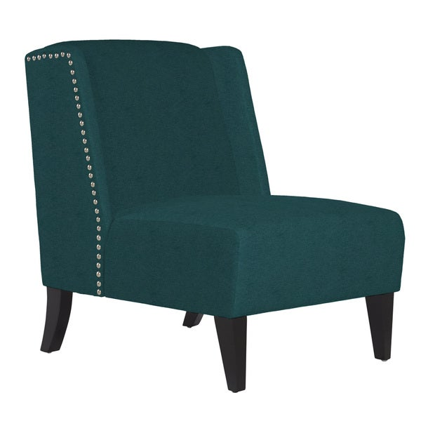 Angelo home barton parisian teal blue velvet armless wingback chair