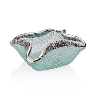 Neda Behnam Home Decor Hand Made Spun Glass Bowl with Sterling Silver Accents