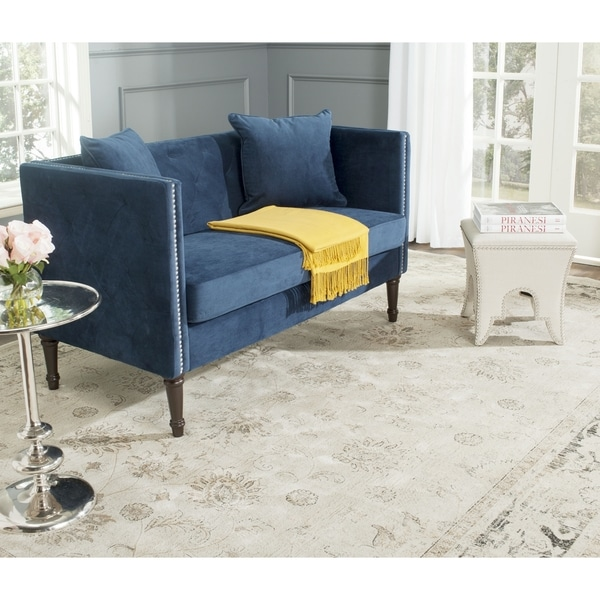 Safavieh Sarah Navy Tufted Settee