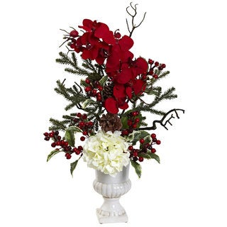 Holiday Elegance Hydrangea/ Pine Arrangement
